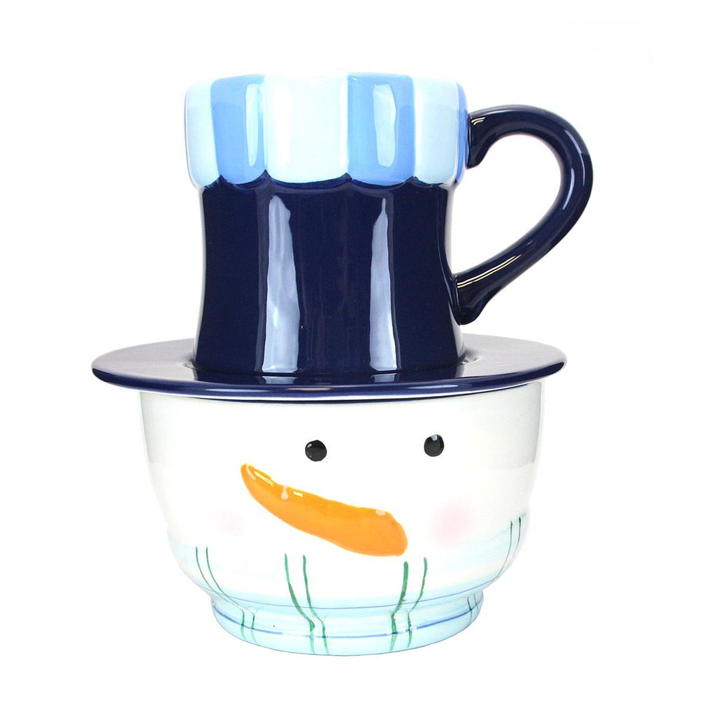 Snowman Soup Bowl Mug and Saucer - Blue