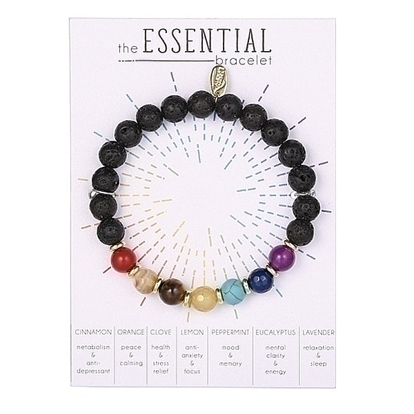 Essential Oils Bracelet with Lava Rock