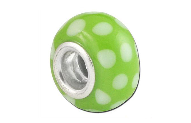 Polka Lime Glass Bead - Green