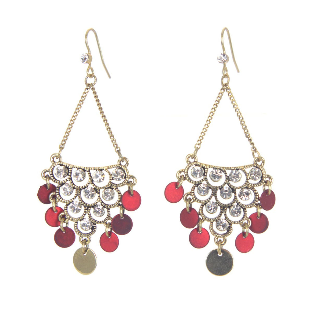Metal Stone Epoxy Chandelier Earrings Red