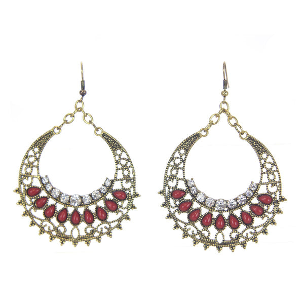 Antique Gold Rhinestone Earrings with Red Beads