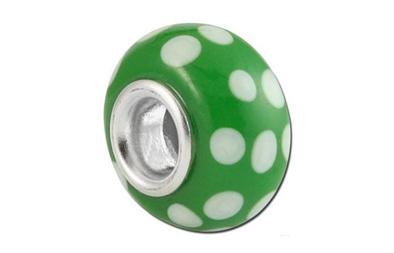Polka Forest Glass Bead - Green