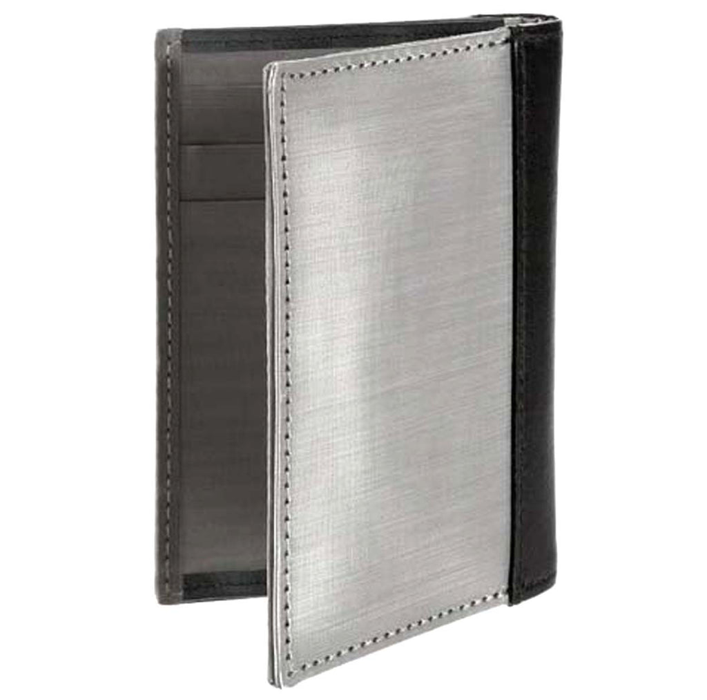 Stainless Steel Driving Wallet Black Leather