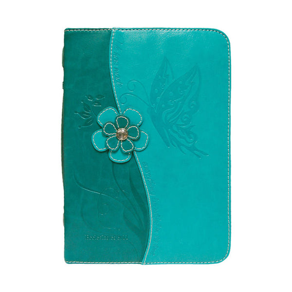 Bible Cover-Teal/Blue Butterfly Medium