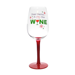 """Dear Santa It was the Wine"" Humorous Wine Glass"