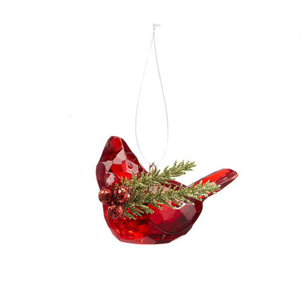 Teeny Cardinal Ornament Carrying Mistletoe Sprig