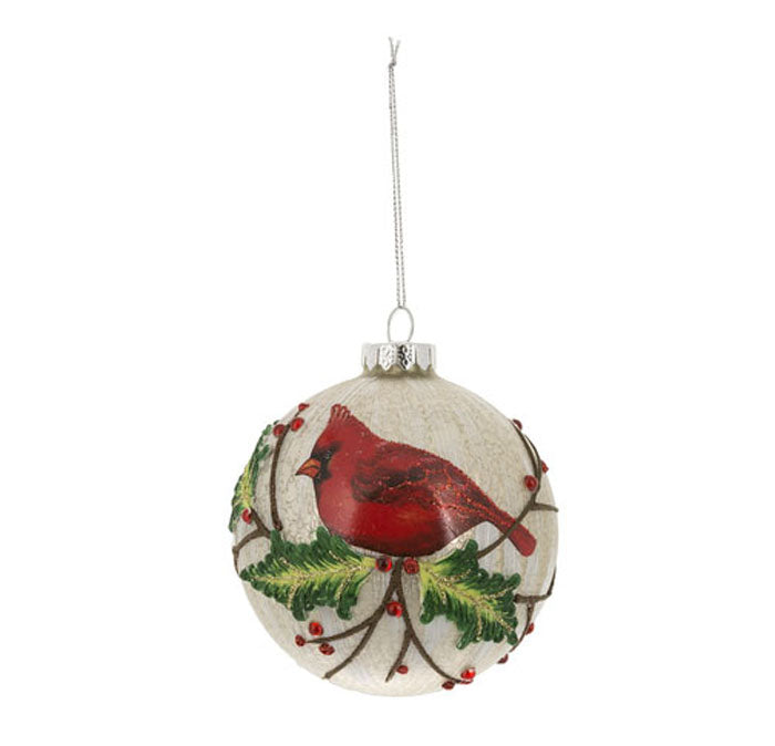 Cardinal Crackle Ball Ornament