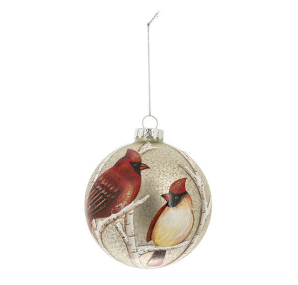 Cardinals Crackle Ball Ornament