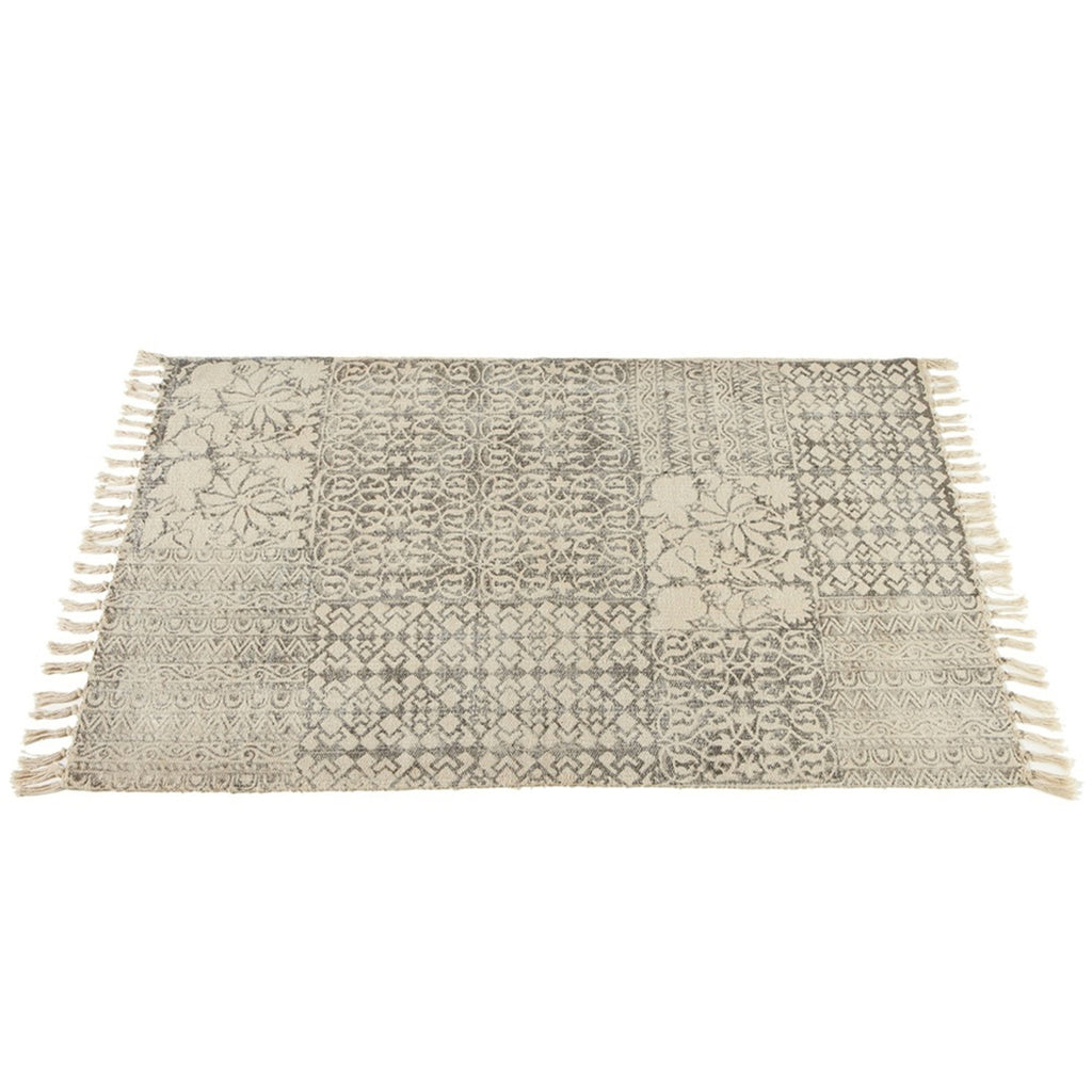 Block Print Gray and Cream Geometric & Floral Fringed Rug