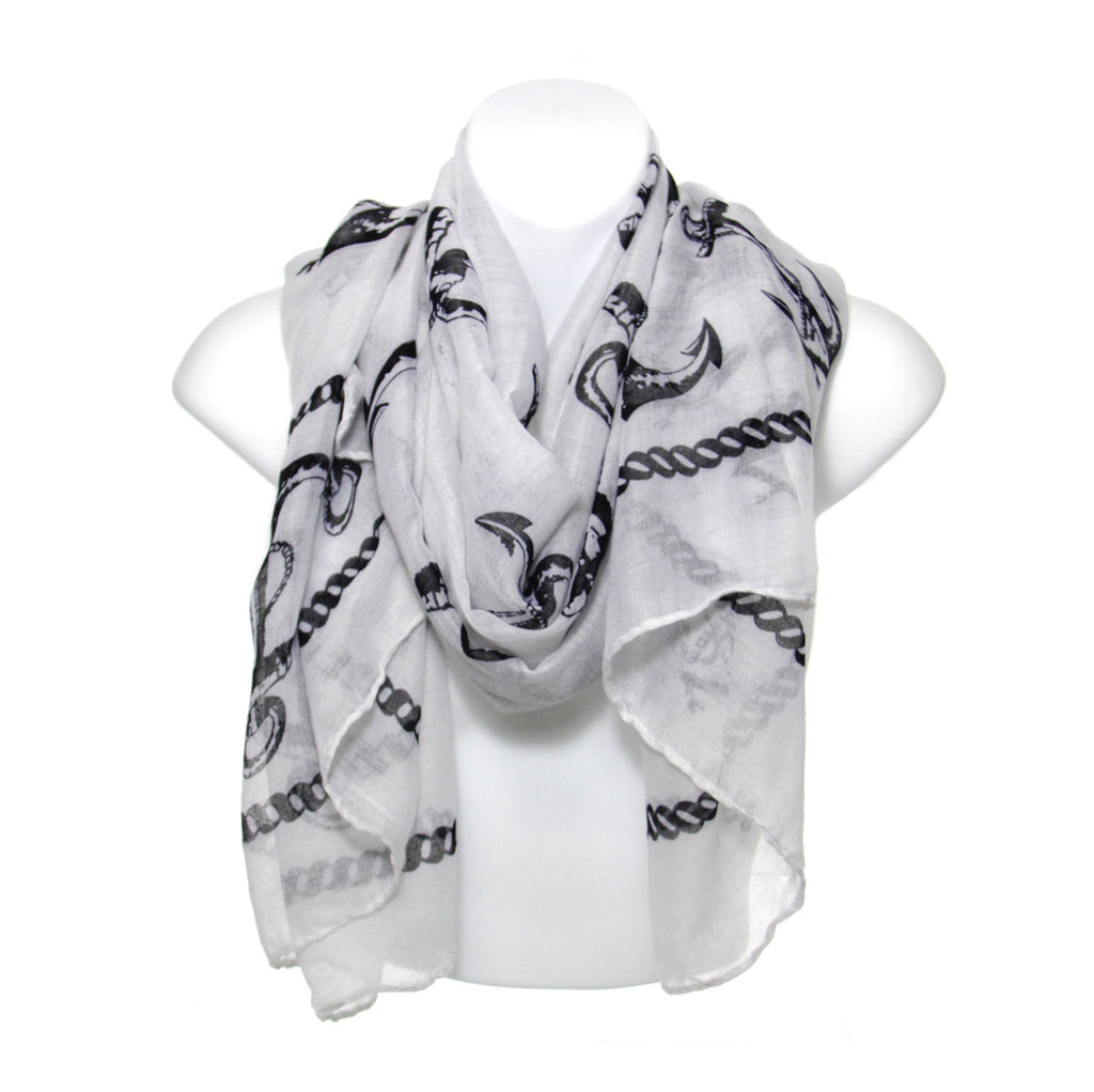 Scarf with black anchors