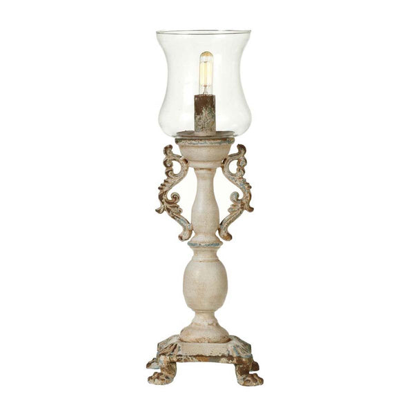 Vintage Scroll Table Lamp with Glass Shade