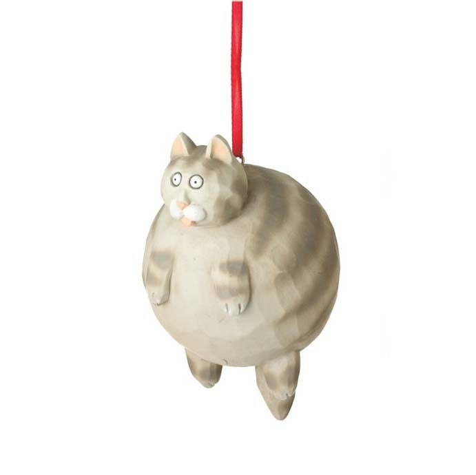 Fat Cat Ornament-Grey Tabby