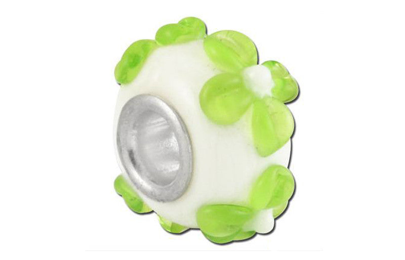 Lime Daisy Glass Bead - Green