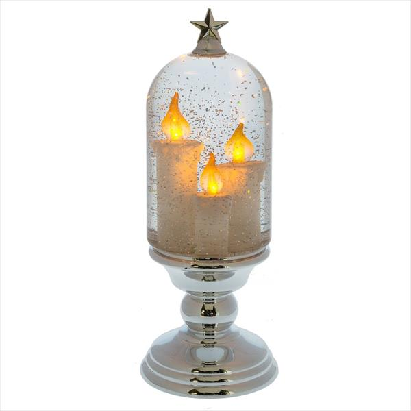 LED Shimmer Three Candle Cloche on Pedestal