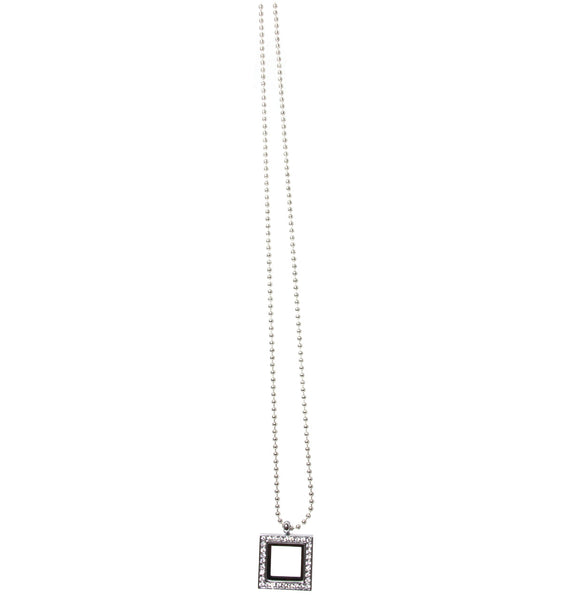 Floating Charm Pendant- Silver Square