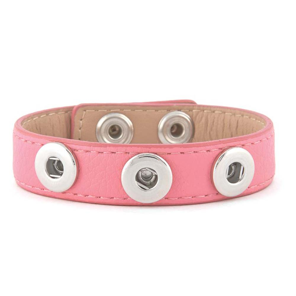 Petite Ginger Snaps Bracelet 3 Snap Pink Vegan Leather