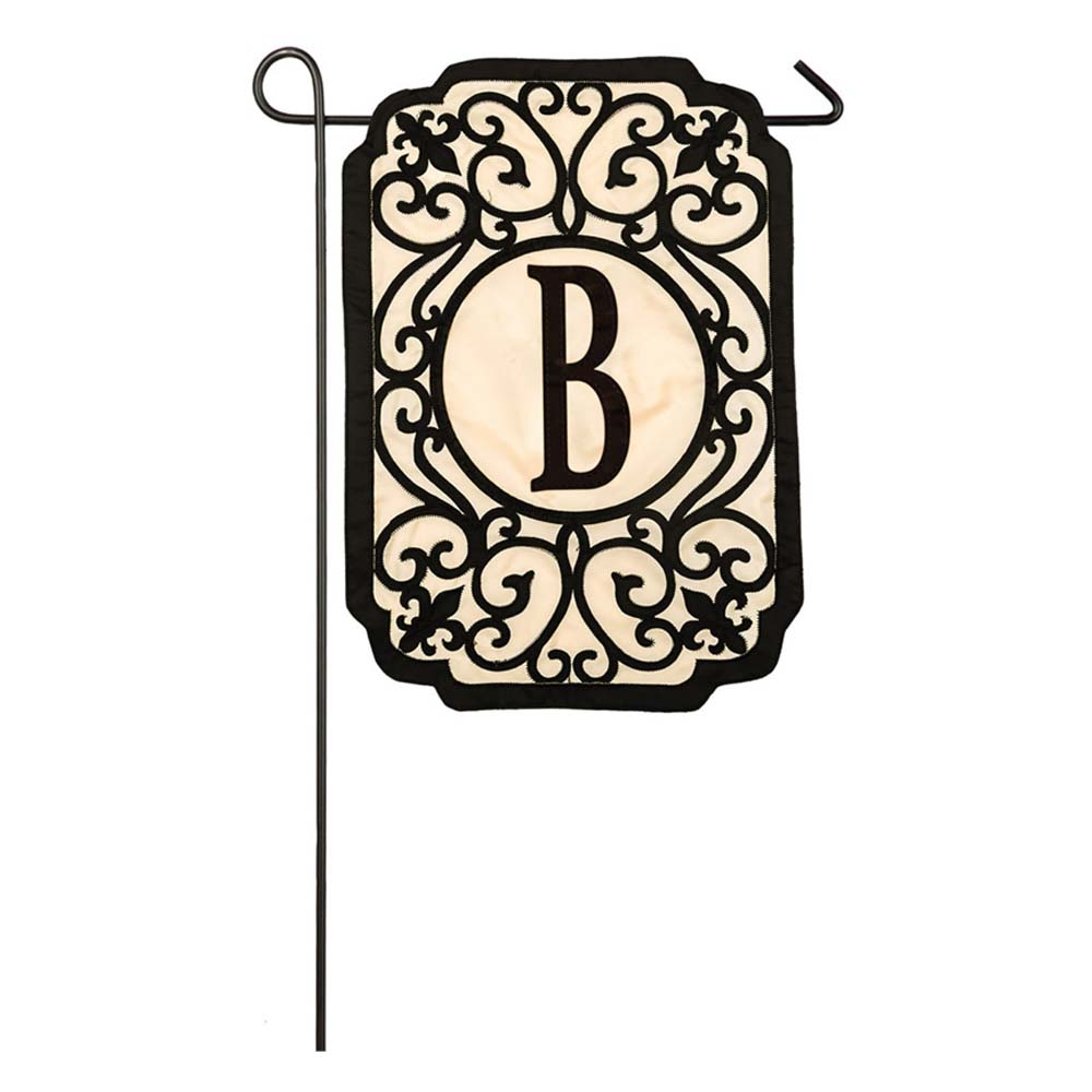 "Monogram Garden Flag B 13""x18"" Filigree"