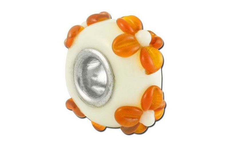 Orange Daisy Glass Bead - Orange
