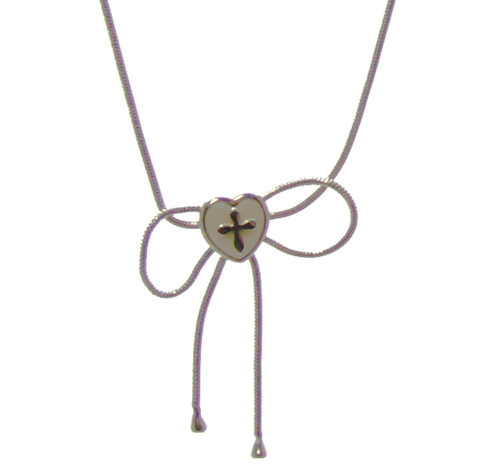 Child Bow Cross Necklace