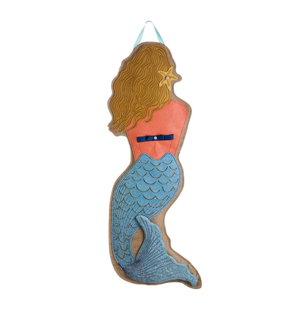 Burlap Mermaid Statement Stake 36""