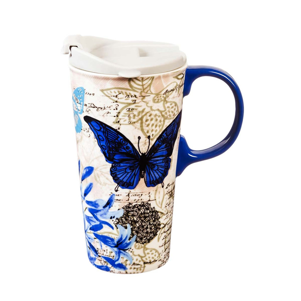 Blue Butterfly/Floral Study Ceramic Travel Cup