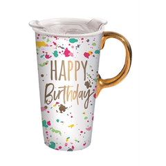 Ceramic Travel Cup Happy Birthday