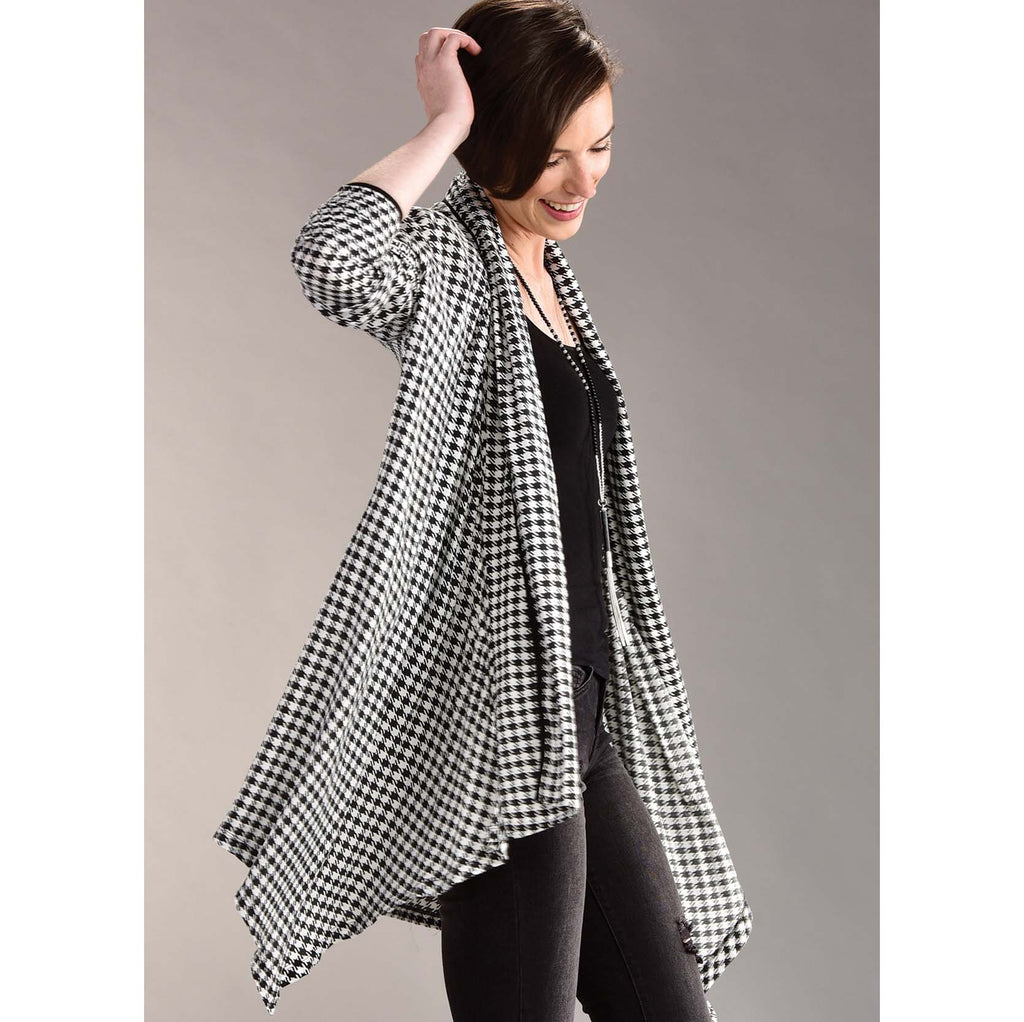 Charlie Paige Houndstooth Print Cardigan