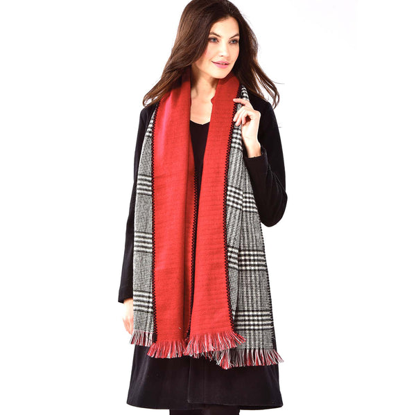 Houndstooth/Red Reversible Scarf