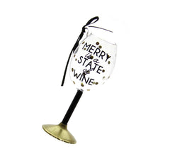 Wine Glass Ornament-Merry is a State of Wine