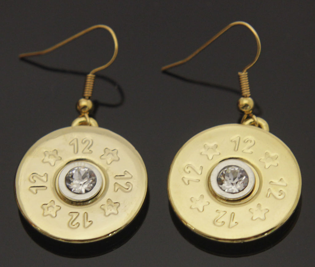 Shotgun Shell Gold with Crystal Earrings