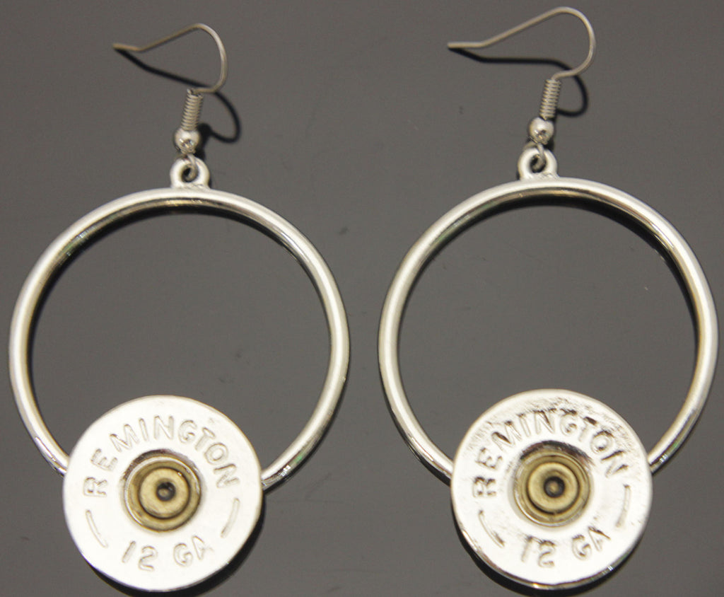 Shotgun Circle Dangle Silver Earrings