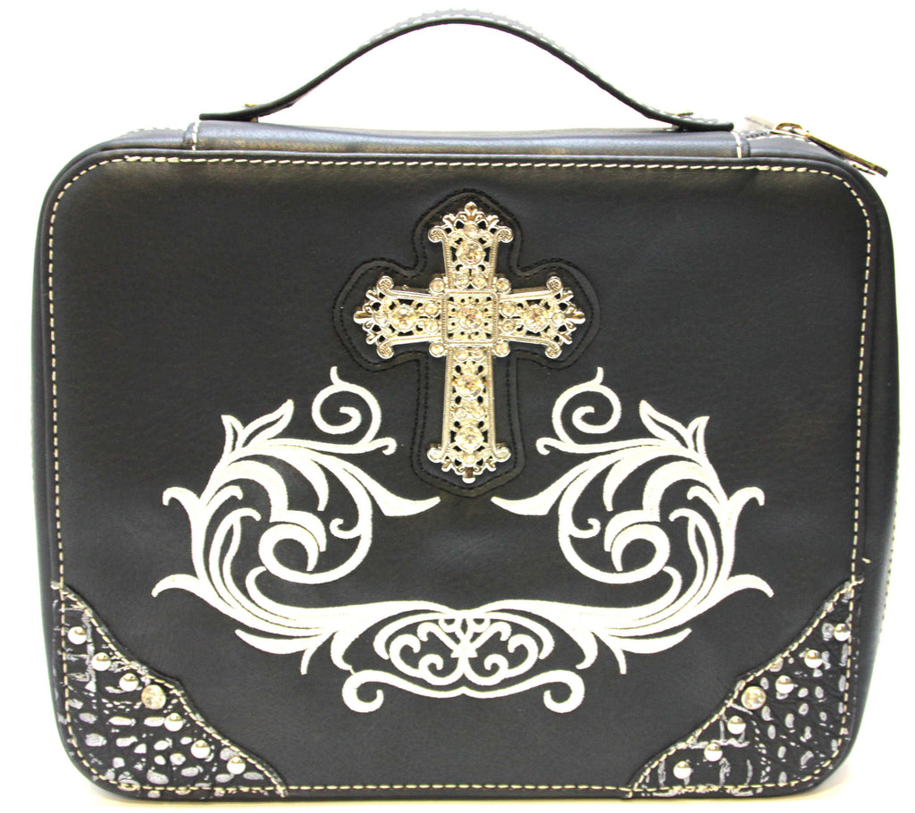 Bible Cover Western Cross Medium Black