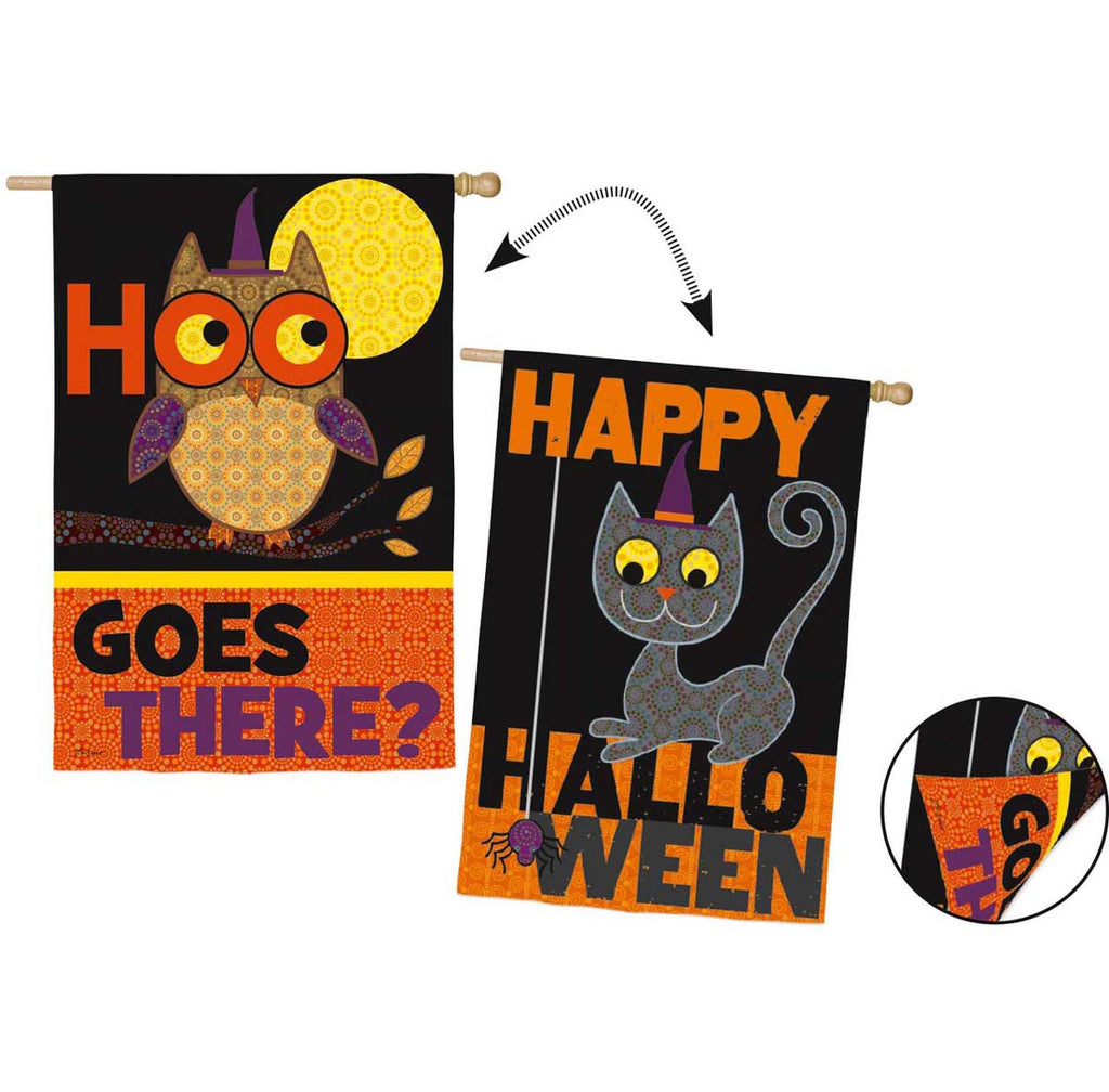 Halloween Owl and Cat 2 Sided Suede Reflections House Flag