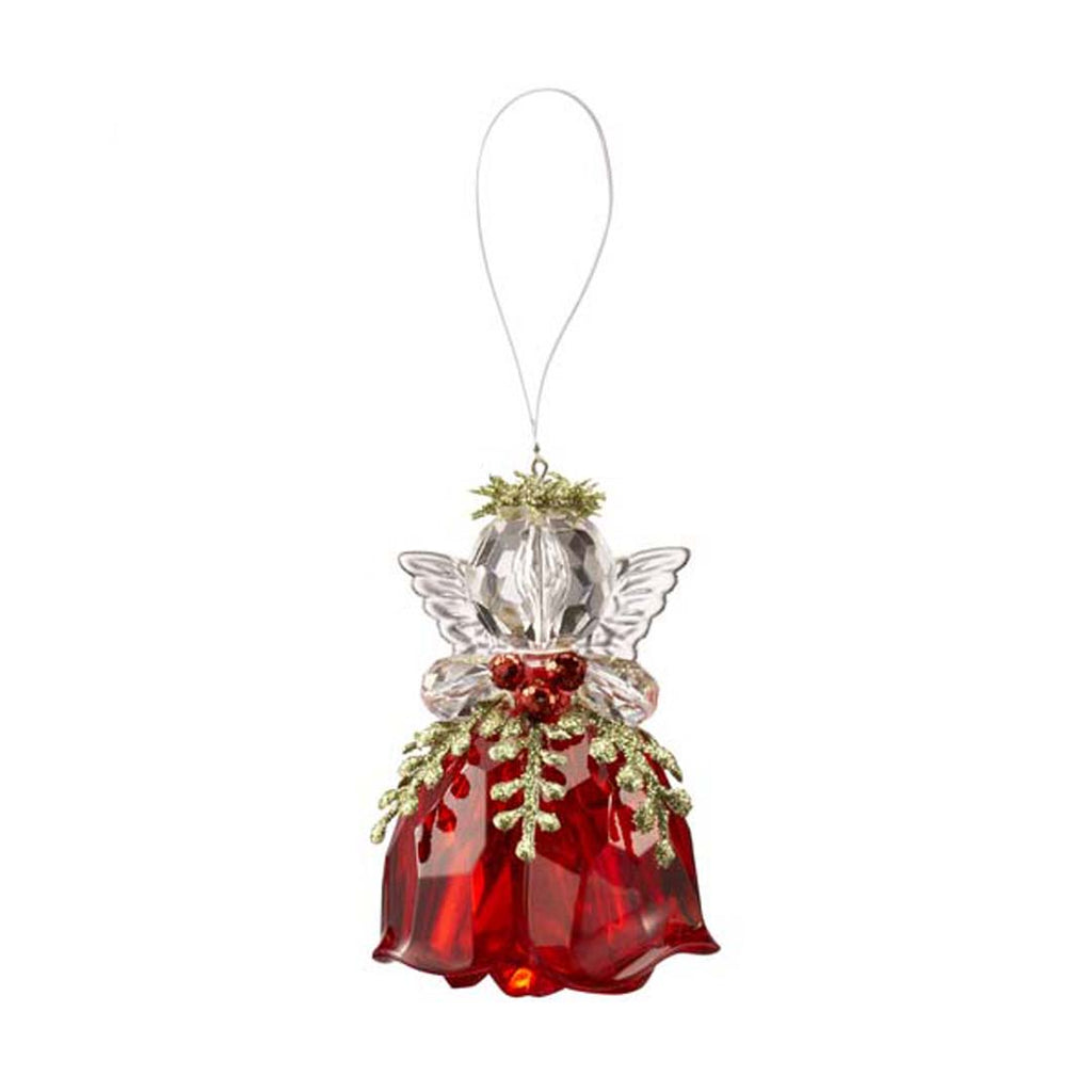 Rosebud Angel Ornament-Red