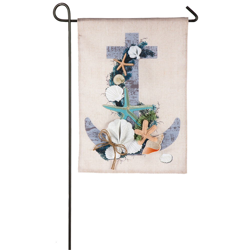 Coastal Christmas Anchor Garden Linen Flag