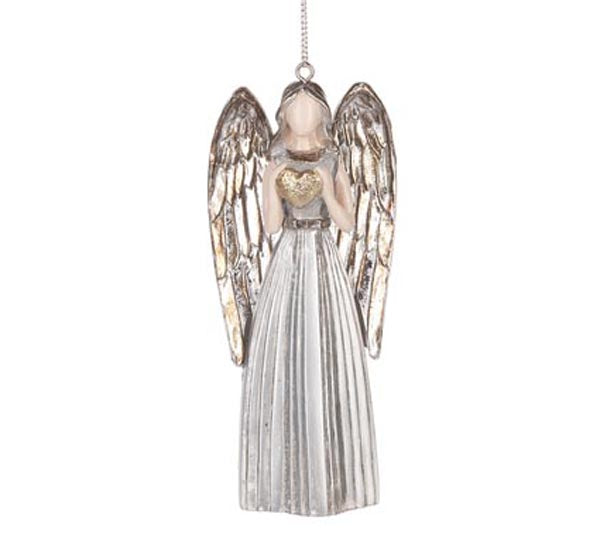 Silver Angel Ornament - Heart