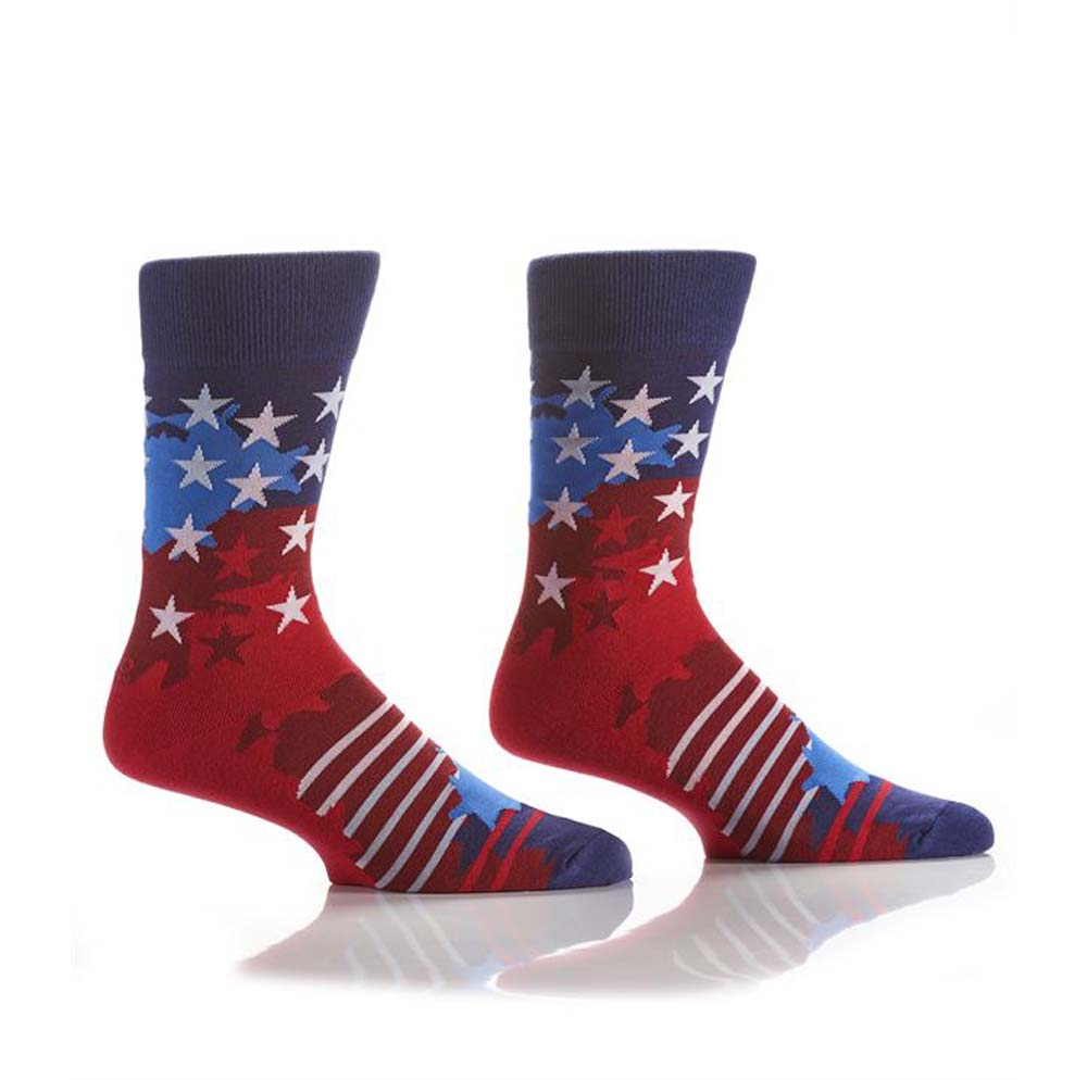 Yo Sox Men's Crew Sock Red, White and Blue Stars and Stripes Design
