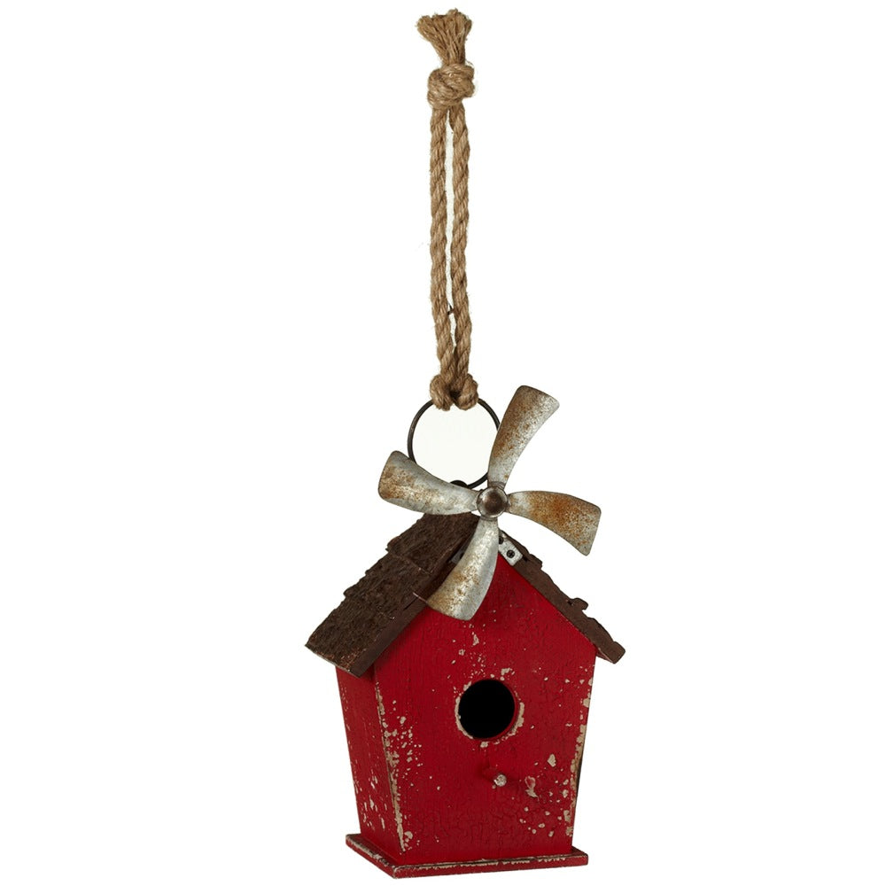 Distressed Red Birdhouse with Windmill