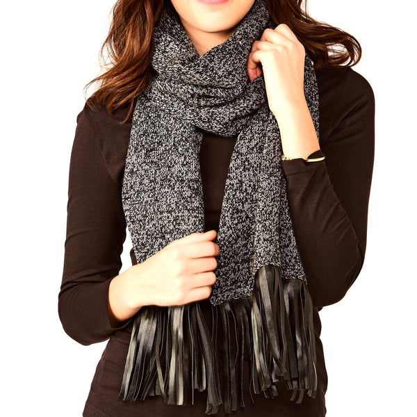 Scarf with Leather Fringe Black