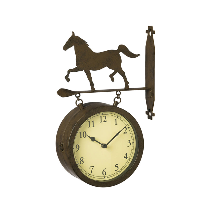 Wall Clock and Thermometer with Horse Icon