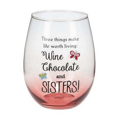 Sister Stemless Wine Glass White Chocolate and Sisters