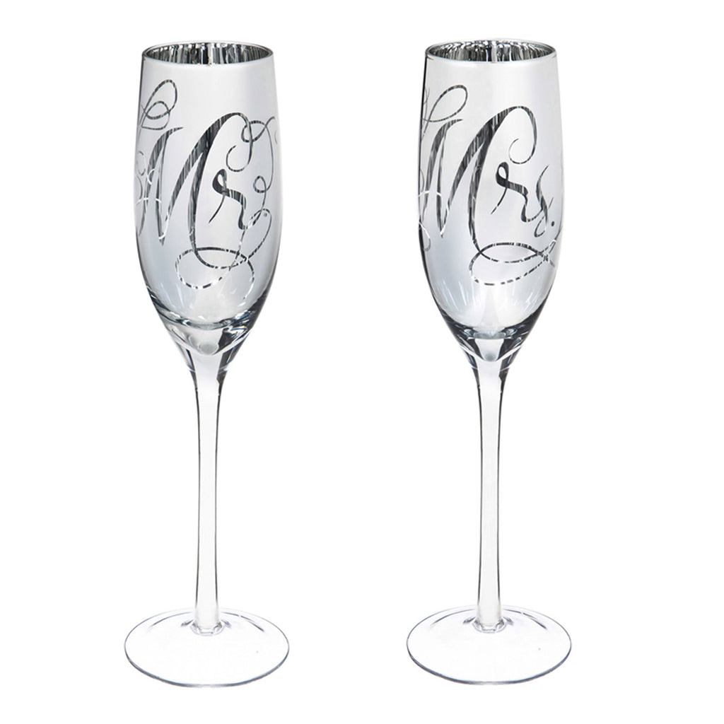 Mr. & Mrs. Champagne Flutes, 8 OZ., Silver Metallic, Set of 2