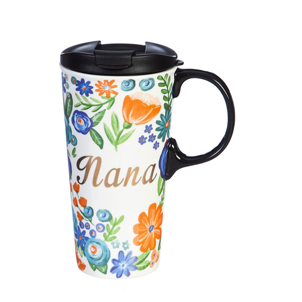 Ceramic Travel Cup w/metallic accents, 17 OZ w/Box, Nana