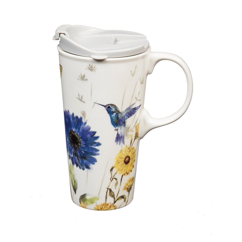 Ceramic Travel Cup w/box, 17 OZ., Floral Garden