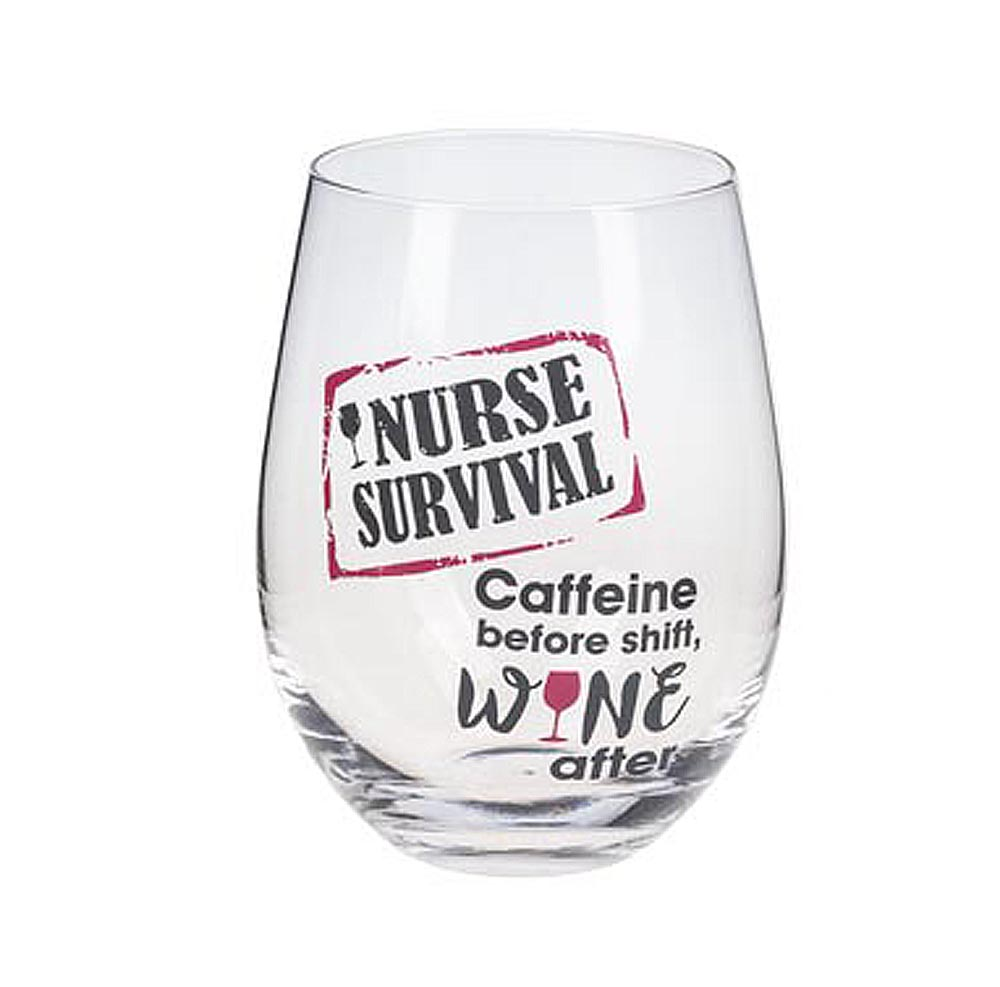 Nurse Stemless Glass - Nurse Survival, Caffeine before shift, Wine after