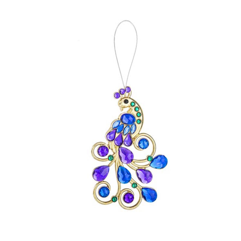 Elegant Peacock Ornament Purple