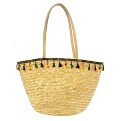 Mardi Gras Straw Bag with Tassels