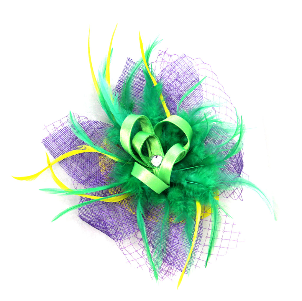Mardi Gras Hair Clip with Ribbon