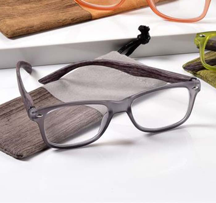 '+2.00 Spring Hinge Glasses with Case-Grey