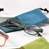 '+2.50 Spring Hinge Glasses with Case-Teal